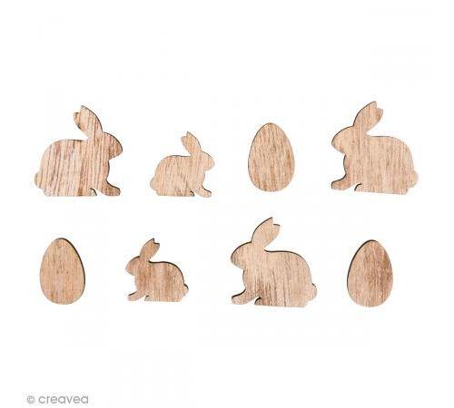 Formes en bois - Lapins et oeufs - 2 à 3 cm - 16 pcs