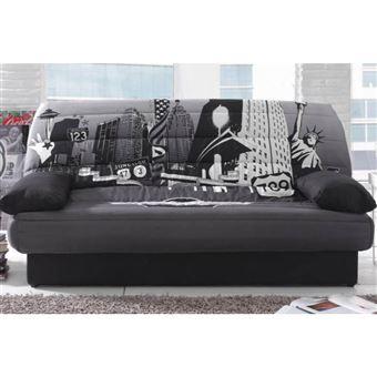Clic Clac Convertible Lausanne Imprime New York 130 190cm Matelas 12cm