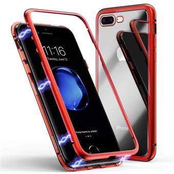 Coque pour Apple iPhone 7 - Coque Magnétique Rouge Verre Trempé - Housse Etui 360 Intégral Full Protection Métal Film Vitre Ecran Ultra Résistant ...