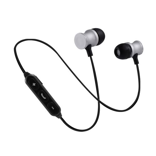 Ecouteurs Bluetooth Metal pour IPHONE Xs Smartphone Sans Fil Telecommande Son Main Libre INTRA AURICULAIRE Universel (ARGENT)