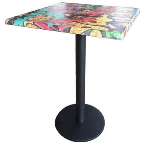 GRAFFITI - Table haute carrée 70 cm