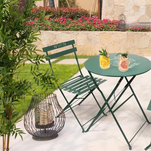 Ensemble de jardin en métal coloris vert -PEGANE-
