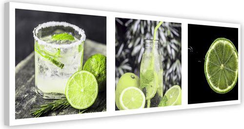 Tableau Toile Cadre Image déco moderne Canevas Set Boisson Citron vert 70x25