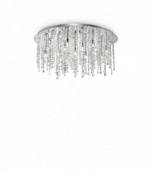 Plafonnier Chrome en cristal ROYAL 15 ampoules