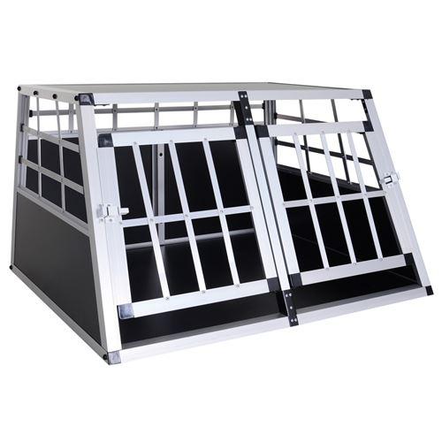 Cage de transport pour chien animaux aluminium XL caisse boîte box de transport voiture double porte forme trapeze 89,5 x 68,5 x 50 cm argent noir