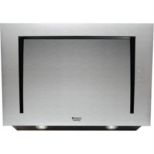 Hotpoint Ariston Luce HLVC 8 AT X.1/HA - Hotte - hotte décorative - largeur : 80 cm - profondeur : 60 cm - evacuation & recyclage - acier inoxydable