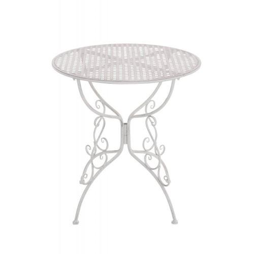 Table de jardin en fer forgé diamètre Ø 70 cm blanc vieilli ...
