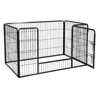 parc enclos cage pour chiens chiots animaux de compagnie 120 x 80 cm noir helloshop26 3712017. Black Bedroom Furniture Sets. Home Design Ideas