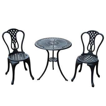 Salon de jardin mobilier de jardin 2 chaises + 1 table en fonte d ...