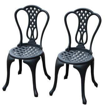 Salon de jardin mobilier de jardin 2 chaises + 1 table en fonte d ...