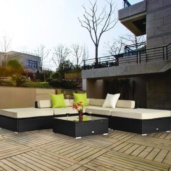 Salon de jardin canape d\'angle resine tresse poly rotin noir ...
