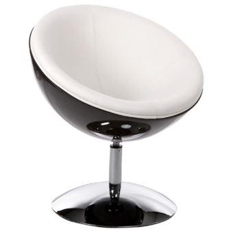 Fauteuil Design Boule Sphera Pivotant 360 Noir Et Blanc