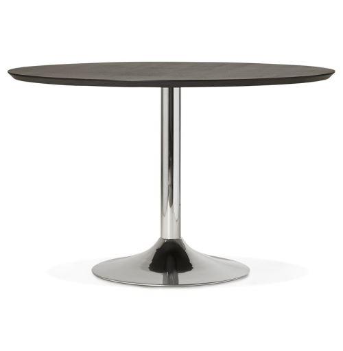 Table à diner/de bureau ronde 'KITCHEN' en bois noir finition Frêne - Ø 120 cm