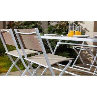 Table de jardin et 4 chaises pliantes en acier et verre - Mobilier ...