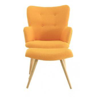 Fauteuil vintage tissu et repose-pieds jaune Stockholm - Achat ...