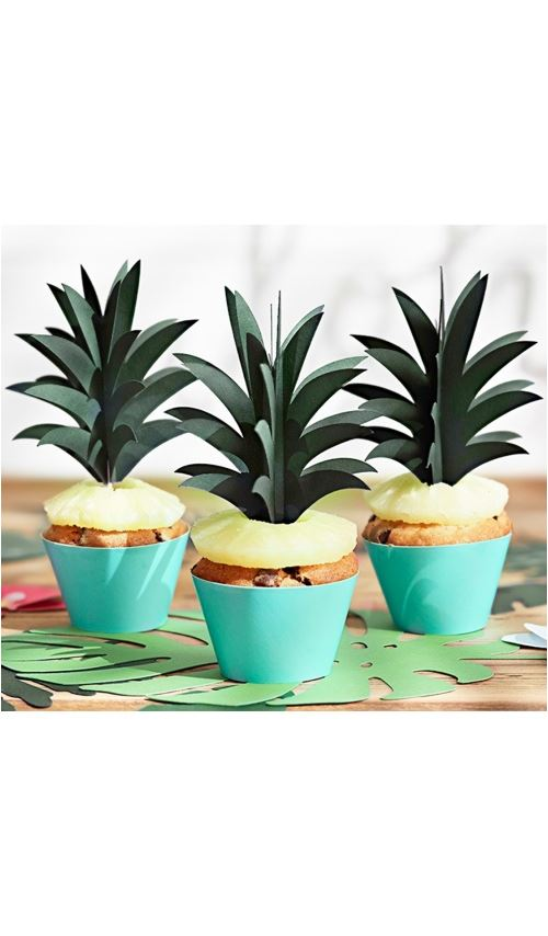 Décoration pour Dessert - Feuilles d'Ananas x 6