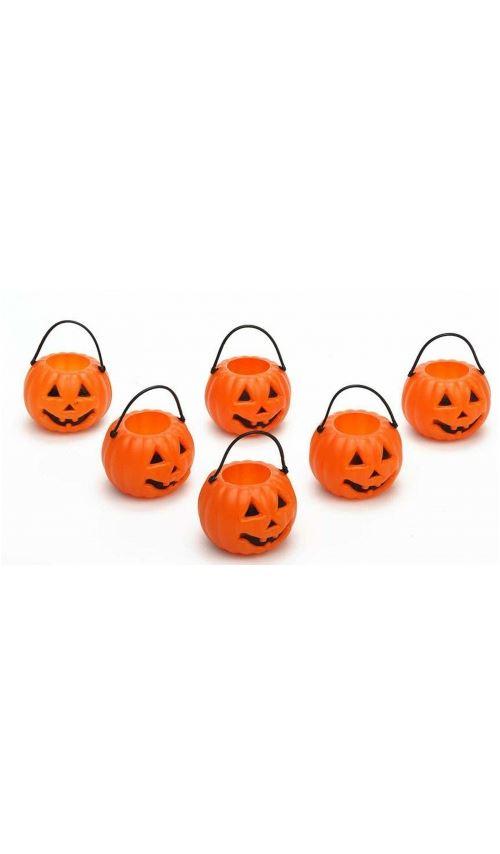 Décoration Halloween - Mini-Chaudron CItrouille x6