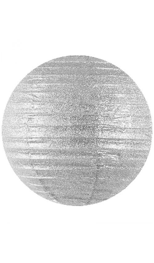 Lanterne Boule - Grand Format - Argent Pailleté