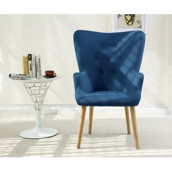 fauteuil scandinave cosy tissu bleu achat prix fnac. Black Bedroom Furniture Sets. Home Design Ideas