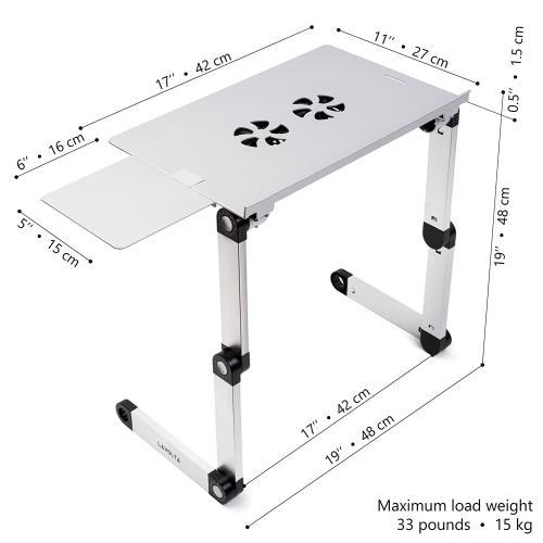 De Portable Refroidisseur Table Argent Ordinateur Pliable Inclinable Lit Pc Ventilateurs Pour 2x Support AjRqL543