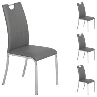 Lot De 4 Chaises De Salle A Manger Gris Pietement Metallique Chrome