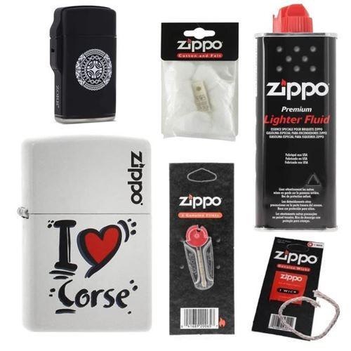 Pack complet Briquet Zippo J'aime la Corse avec mèche essence coton et pierres