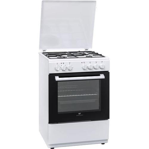 Continental Edison CECM6065W - Cuisinière - pose libre - largeur : 60 cm - profondeur : 60 cm - hauteur : 85 cm - avec système auto-nettoyant - blanc
