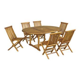 Salon de jardin Baya en teck huilé 6 chaises, petit modèle ...