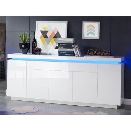 FLASH Buffet bas avec LED contemporain blanc laque brillant - L 206 cm