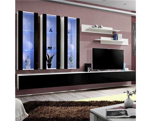 Ensemble TV noir et blanc PIAZZA - L 320 x P 40 x H 190 cm