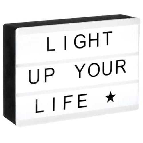 Boîte à Message Lumineuse Cinéma 15cm Noir & Blanc