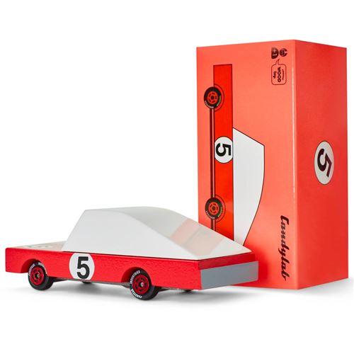 Petites voitures et mini modèles rétro classiques en bois Candylab CandyCar Véhicules design pour enfants et adultes Candycar - Red Racer #5 CND F195