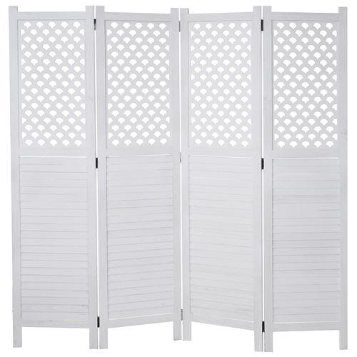 Paravent HWC-A84, paroi de séparation, protection visuelle, ornaments 170 x 161 cm ~ blanc