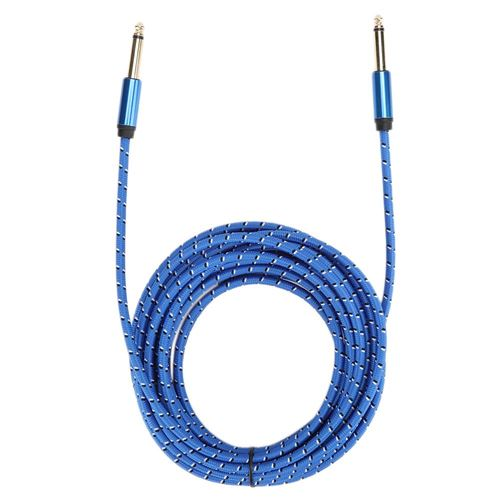 Câble audio étamé 6m 6.35mm mâle à 6.35mm mâle mono plaqué or Bleu 6m