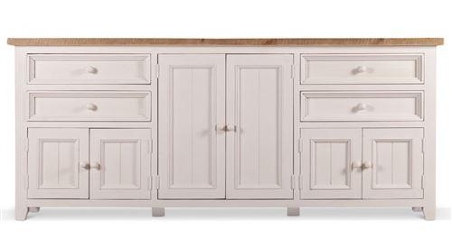 Meuble Bas Rangement Bois Blanc Césuré 4 Tiroirs 210x45x89cm - Pin - Décoration d'Autrefois
