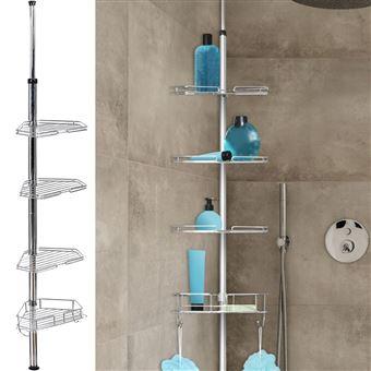 14 sur etag re d 39 angle de douche t lescopique en acier inoxydable accessoires salles de bain. Black Bedroom Furniture Sets. Home Design Ideas