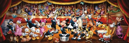 Puzzle adulte panorama : mickey chef d orchestre - 1o00 pieces - collection clementoni disney