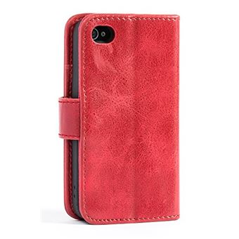 Coque iPhone 4 4S MULBE Houe Etui iPhone 4 4S Portefeuille en Cuir Polyurethane Protection Solide avec Bequille Fermeture Aimante Vin Rouge