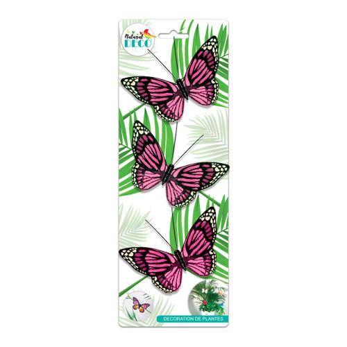 Déco Plantes – Lot de 3 Papillons Rose CD3860