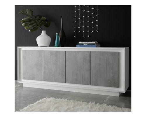 bahut blanc laqué mat et effet béton moderne HAMILTON - Blanc - L 207 x P 50 x H 80 cm