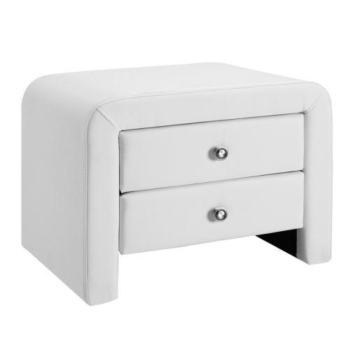 Table chevet design en simili cuir Eva - couleur - Blanc
