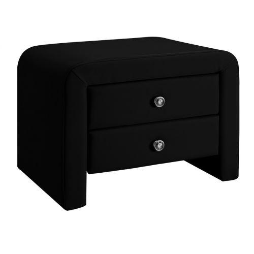 Table chevet design en simili cuir Eva - couleur - Noir