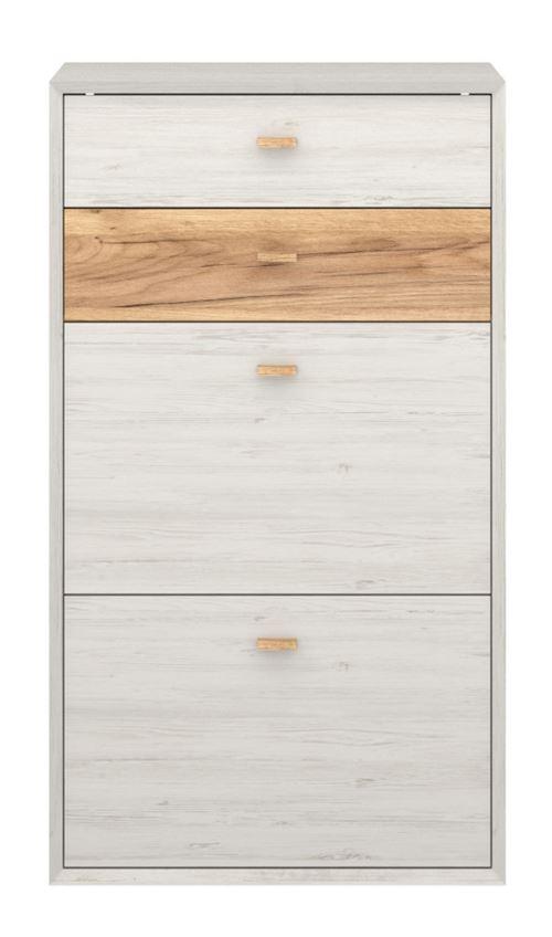 Meuble à chaussures coloris blanc - Dim : 145 x 80 x 40 cm - PEGANE -