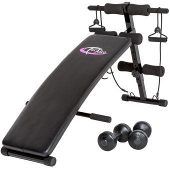 Banc De Musculation Abdominaux Pliable Haltères Cordes Fitness