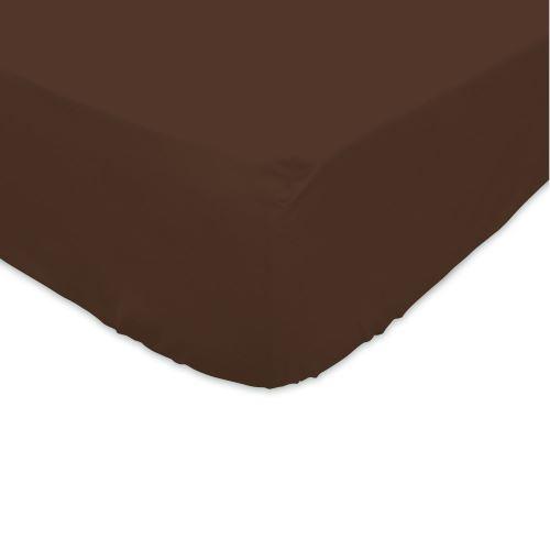 Drap housse 200x200cm 100% coton Marron