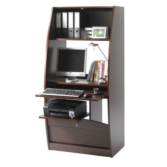 bureau informatique en bois avec rideau serrure paris weng 80cm achat prix fnac. Black Bedroom Furniture Sets. Home Design Ideas