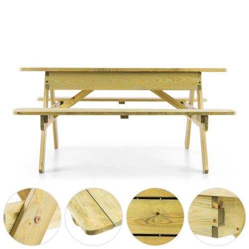 Blumfeldt Table de jeux ou pique nique pour enfants avec banc intégré - bois