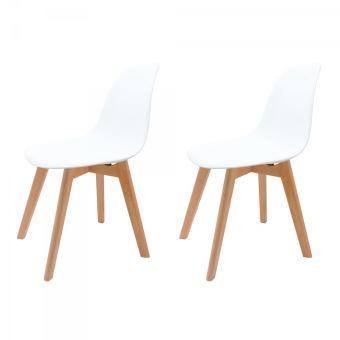 lot de 2 chaises blanches scandinaves avec pieds en bois sch_ool_x2_wht achat prix fnac - Chaise Blanche Scandinave