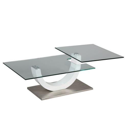 Table basse en verre socle en métal - EVO
