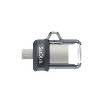 SanDisk Ultra Clé USB Dual Drive m3.0 OTG - 16 Go - USB 3.0 - Micro USB pour Android Devices et ordinateurs jusqu'à 130Mo/s